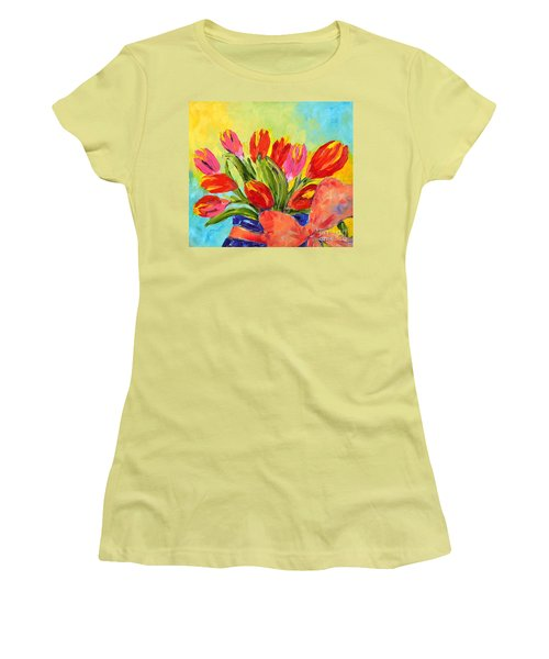 Tulips Tied Up Women's T-Shirt (Junior Cut) by Lynda Cookson