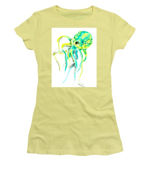 Turquoise Green Octopus Women's T-Shirt (Athletic Fit)