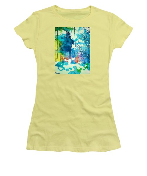 Turquoise Moose Women's T-Shirt (Athletic Fit)