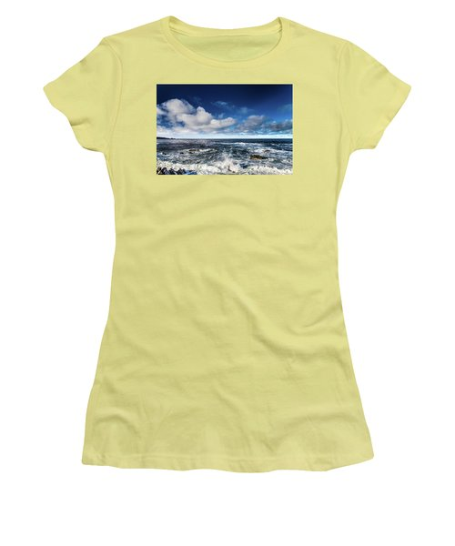 Women's T-Shirt (Athletic Fit) featuring the photograph Turquoise Pacific Ocean Sea Water Rolling Waves And Rock With Bl by Jingjits Photography