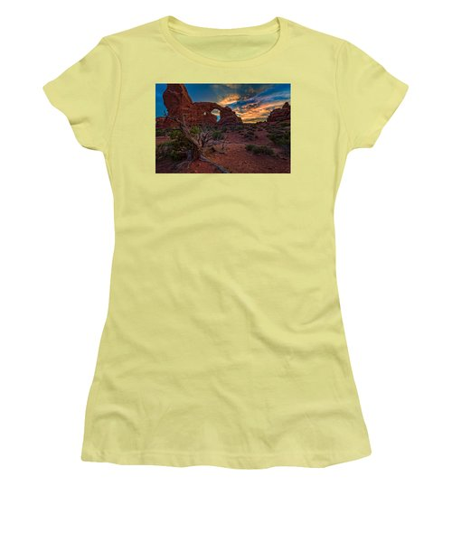 Turret Arch At Sunset Women's T-Shirt (Athletic Fit)