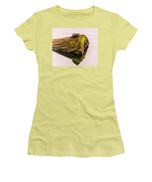 Women's T-Shirt (Junior Cut) featuring the photograph Turtle Basking by Jerry Cahill