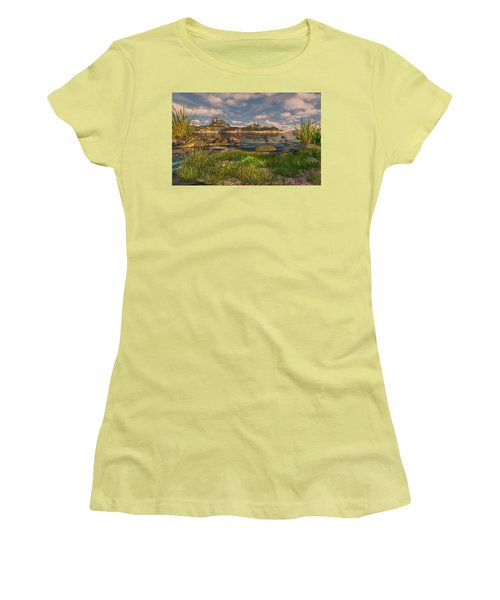 Women's T-Shirt (Athletic Fit) featuring the digital art Turtle Cove by Mary Almond
