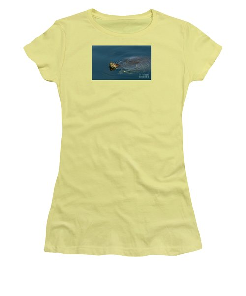 Turtle Floating In Calm Waters Women's T-Shirt (Athletic Fit)