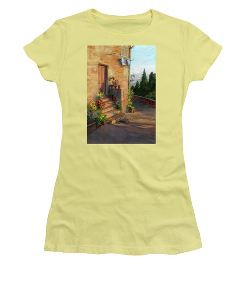 Women's T-Shirt (Junior Cut) featuring the painting Tuscany Morning Light by Vikki Bouffard