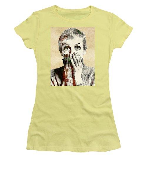 Twiggy Surprised Women's T-Shirt (Junior Cut) by Mihaela Pater
