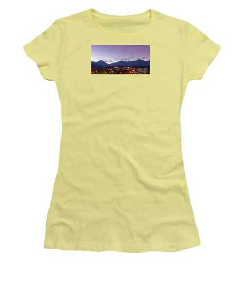 Twilight Panorama Of Estes Park, Stanley Hotel, Castle Mountain And Lumpy Ridge - Rocky Mountains  Women's T-Shirt (Athletic Fit)