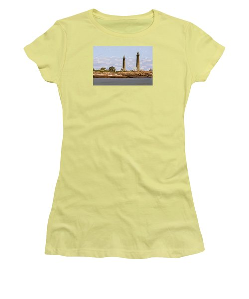 Twin Lights, Thatcher's Island, Rockport, Ma Women's T-Shirt (Athletic Fit)