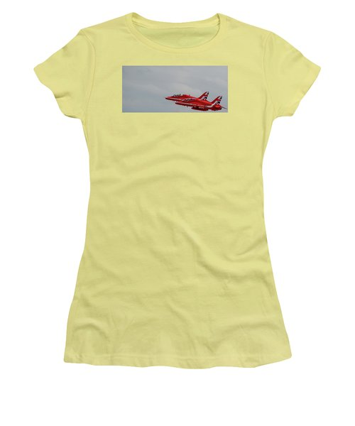 Twin Red Arrows Taking Off - Teesside Airshow 2016 Women's T-Shirt (Athletic Fit)