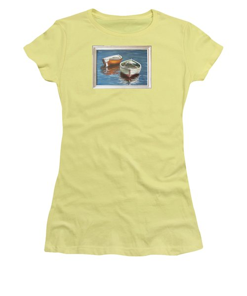 Women's T-Shirt (Junior Cut) featuring the painting Two Boats by Natalia Tejera