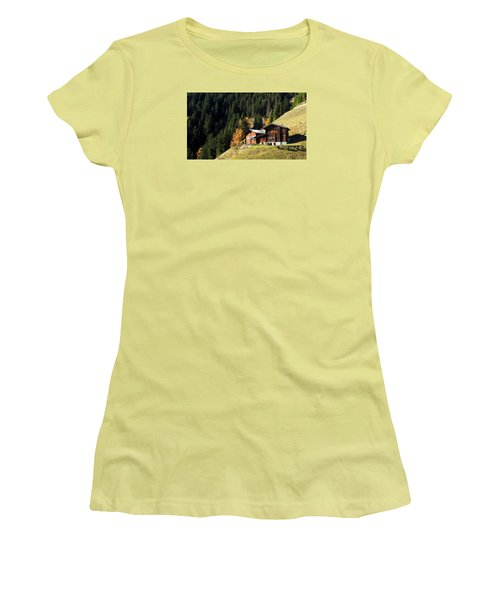 Two Chalets On A Mountainside Women's T-Shirt (Junior Cut) by Ernst Dittmar