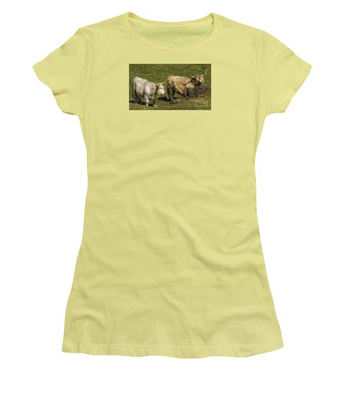 Women's T-Shirt (Junior Cut) featuring the photograph Two Coos by Linsey Williams