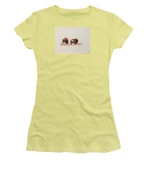 Two Grumpy Bisons  Women's T-Shirt (Junior Cut) by Ellen Canfield