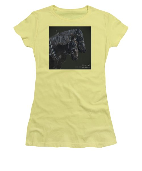 Two Percherons Women's T-Shirt (Junior Cut) by Kathy Russell