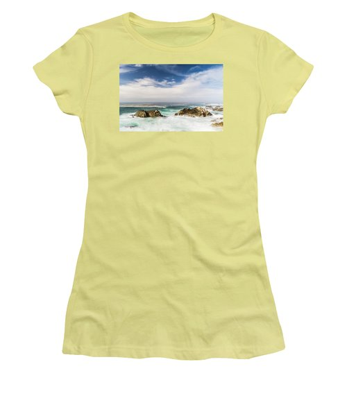 Women's T-Shirt (Athletic Fit) featuring the photograph Two Rocks In The Pacific Ocean by Jingjits Photography