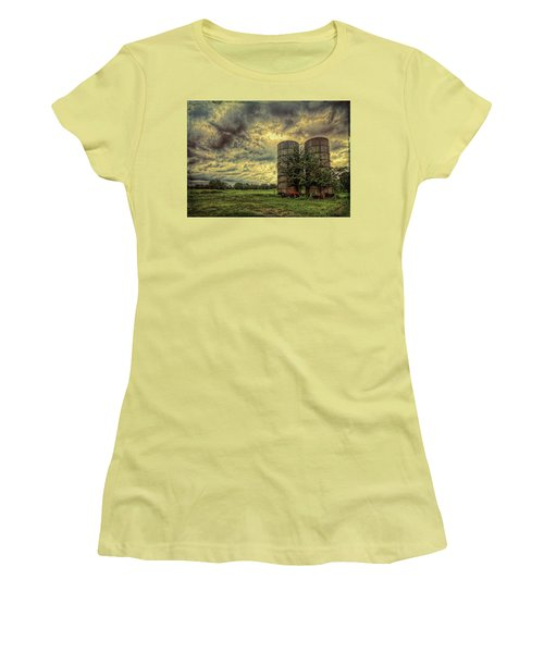 Women's T-Shirt (Athletic Fit) featuring the photograph Two Silos by Lewis Mann