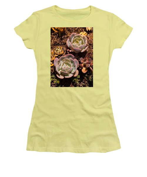 Women's T-Shirt (Junior Cut) featuring the photograph Two Succulents  by Catherine Lau