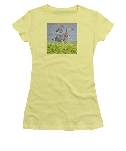 Two Tri Colored Herons Women's T-Shirt (Junior Cut) by Phyllis Beiser