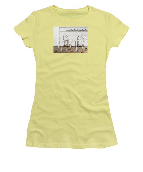 Women's T-Shirt (Junior Cut) featuring the photograph Two White Chairs And Autumn Wind by Gary Slawsky