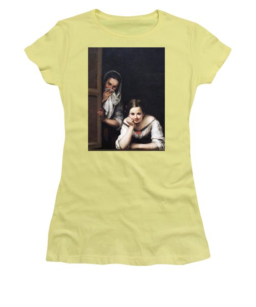 Women's T-Shirt (Junior Cut) featuring the painting Two Women At Window by Pg Reproductions