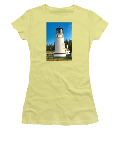 Women's T-Shirt (Junior Cut) featuring the tapestry - textile Umpqua River Lighthouse by Dennis Bucklin