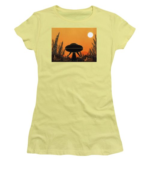 Unidentified Flying Object Landing Women's T-Shirt (Athletic Fit)