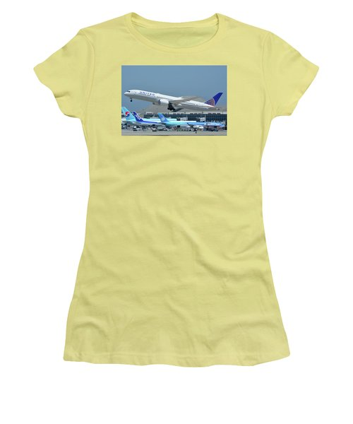 Women's T-Shirt (Junior Cut) featuring the photograph United Boeing 787-9 N27965 Los Angeles International Airport May 3 2016 by Brian Lockett