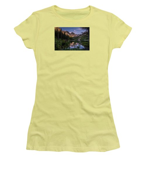 Upper Slate Lake Evening Glow Women's T-Shirt (Junior Cut) by Michael J Bauer