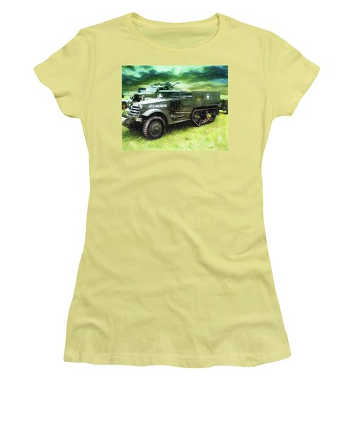 Women's T-Shirt (Junior Cut) featuring the painting U.s. Army Halftrack by Michael Cleere