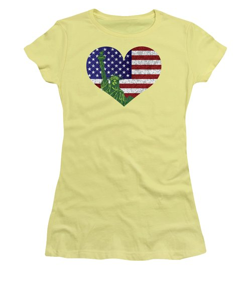 Usa Heart Flag And Statue Of Liberty Women's T-Shirt (Athletic Fit)