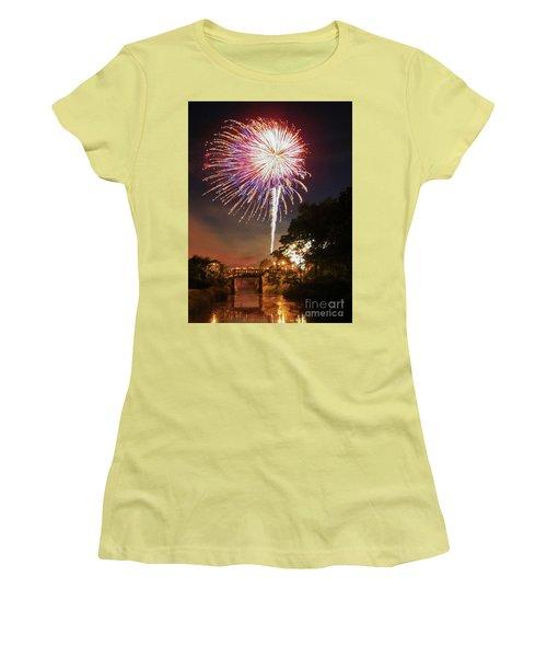 Utica Fireworks Women's T-Shirt (Junior Cut) by Paula Guttilla