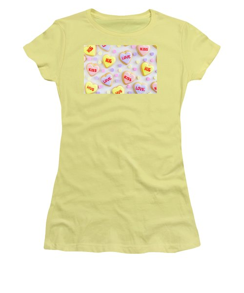 Women's T-Shirt (Junior Cut) featuring the photograph Valentine Heart Cookies by Teri Virbickis
