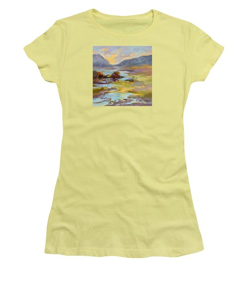 Women's T-Shirt (Junior Cut) featuring the painting Valley Vantage Point by Rae Andrews