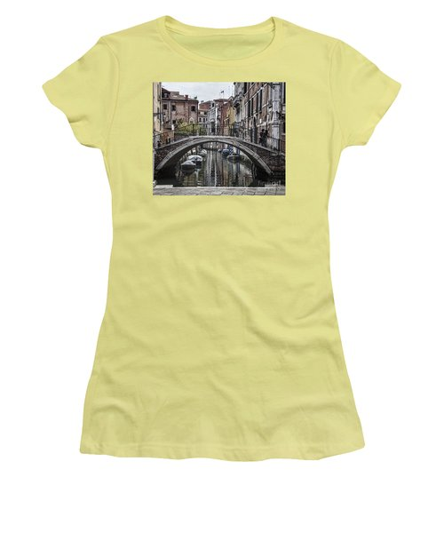 Women's T-Shirt (Junior Cut) featuring the photograph Venice Crossing by Shirley Mangini