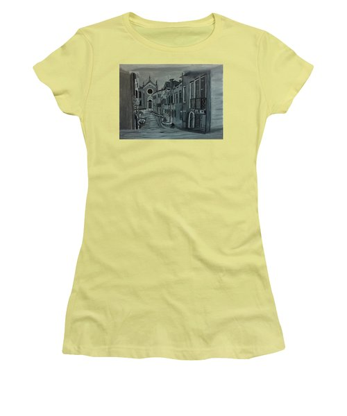 Venice In Grey And White Women's T-Shirt (Junior Cut) by Rod Jellison