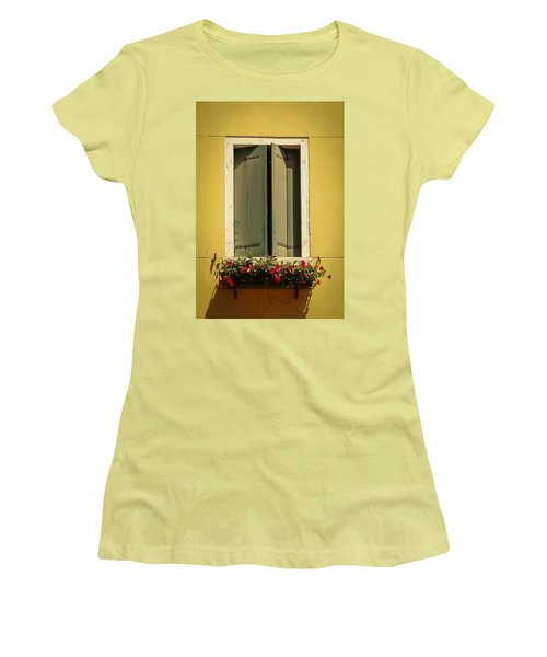 Venice Window In Green Women's T-Shirt (Junior Cut) by Kathleen Scanlan