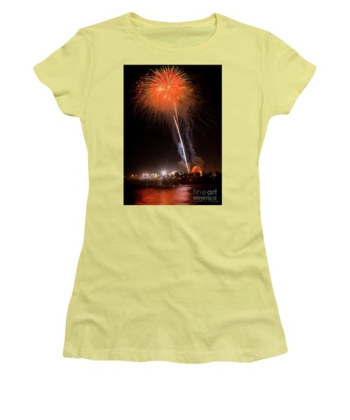 Women's T-Shirt (Junior Cut) featuring the photograph Ventura California Fair Fireworks by John A Rodriguez