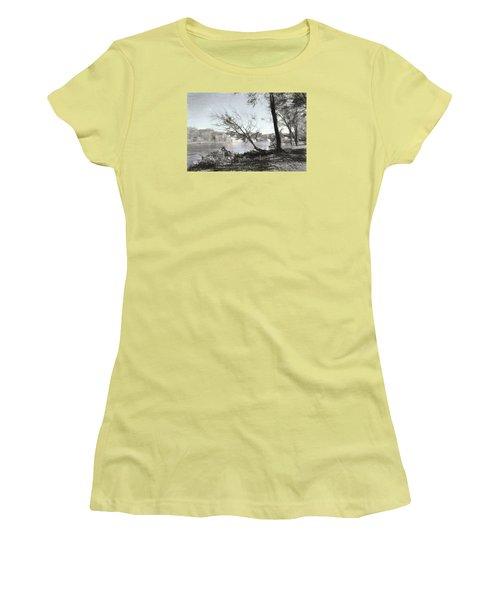 Vergennes Falls Digital Charcoal Women's T-Shirt (Junior Cut) by Rena Trepanier