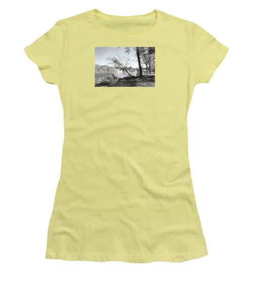 Vergennes Falls Digital Charcoal Women's T-Shirt (Athletic Fit)