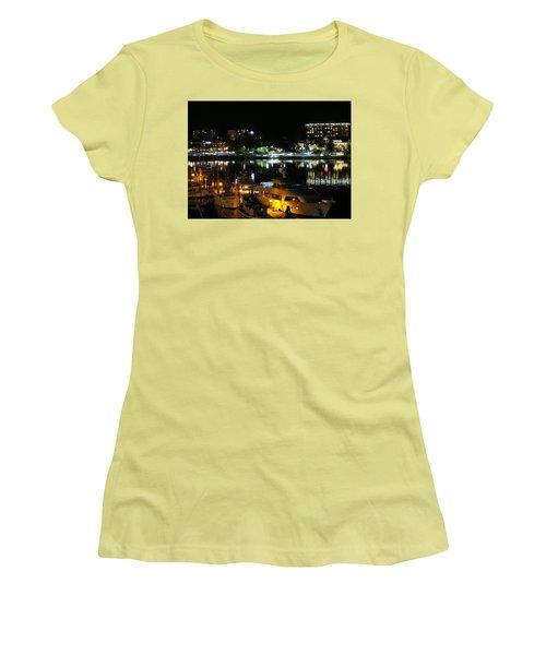 Victoria Inner Harbor At Night Women's T-Shirt (Junior Cut) by Betty Buller Whitehead