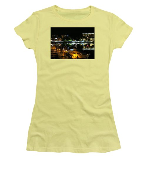 Victoria Inner Harbor At Night Women's T-Shirt (Athletic Fit)