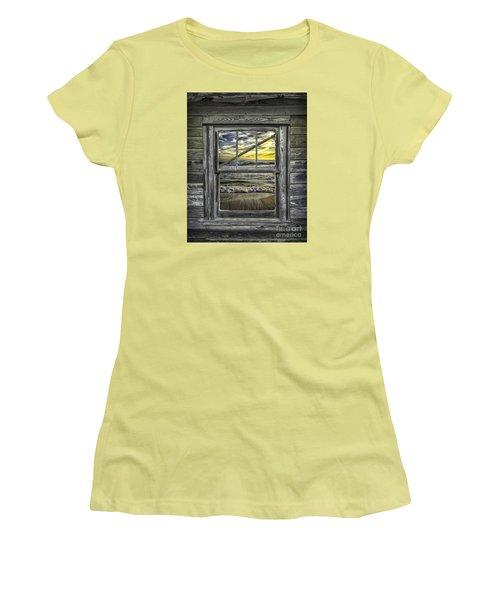 View From Weathered Beach Cottage Women's T-Shirt (Junior Cut) by Walt Foegelle