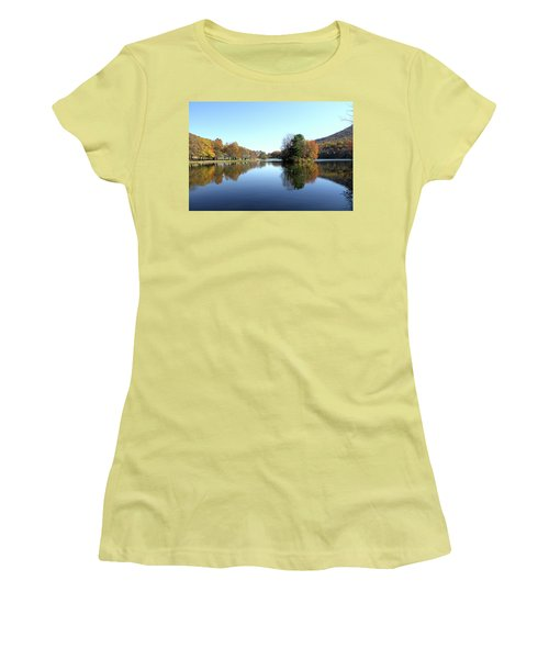 View Of Abbott Lake With Trees On Island, In Autumn Women's T-Shirt (Athletic Fit)