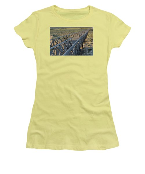 View Of The Wooden Bridge In Quinta Do Lago Women's T-Shirt (Junior Cut) by Angelo DeVal