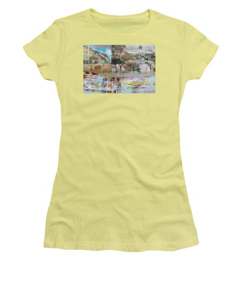 Vikings Stadium Collage 2 Women's T-Shirt (Junior Cut) by Susan Stone