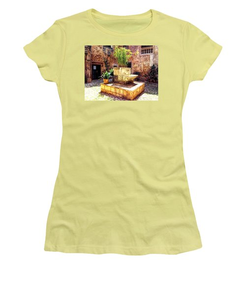 Women's T-Shirt (Junior Cut) featuring the photograph Village Well In Santanyi by Andreas Thust