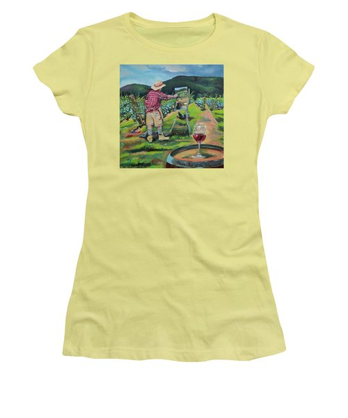Women's T-Shirt (Athletic Fit) featuring the painting Vineyard Plein Air Painting - We Paint With Wine by Jan Dappen