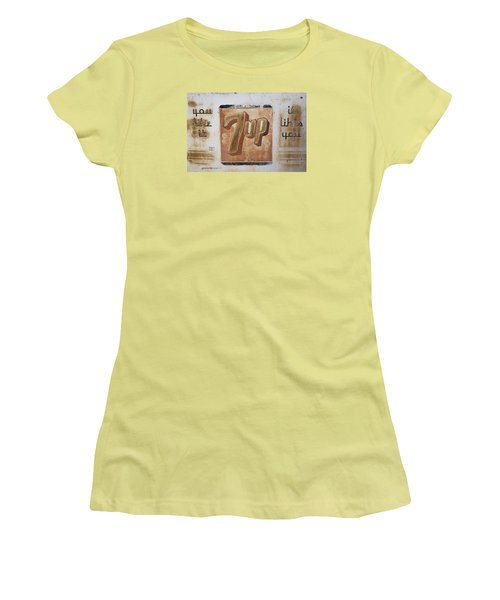 Women's T-Shirt (Junior Cut) featuring the photograph Vintage 7 Up Sign by Christina Lihani
