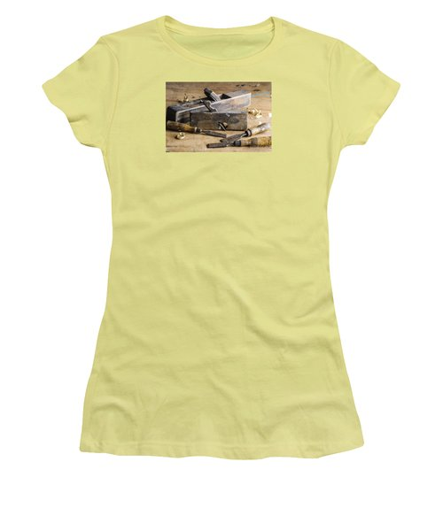 Women's T-Shirt (Junior Cut) featuring the photograph Vintage Carpentry Bench by Trevor Chriss