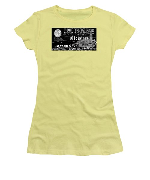 Vintage Cloisters And Fort Tryon Park Poster Women's T-Shirt (Junior Cut) by Cole Thompson